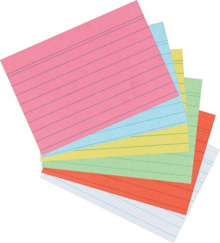 Herlitz Karteikarten DIN A7 | 800er Packung | liniert, Sortiert | 5+3 | gelb, grün, blau, rot, orange (je 100 Stück) weiß (300 Stück)