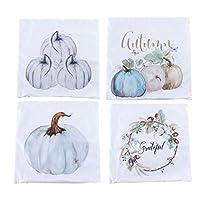 HEALLILY 4ピース秋の装飾カボチャスロー枕カバークッションソファカバー枕ケースセット秋のハロウィーンの感謝祭の日(白)