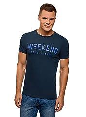 oodji Ultra Hombre Camiseta de Algodón con Inscripción