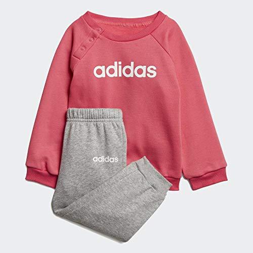 adidas Infant Linear Jogger Fleece Suits, Unisex niños, Real Pink s18/medium Grey Heather/White, 9-12M
