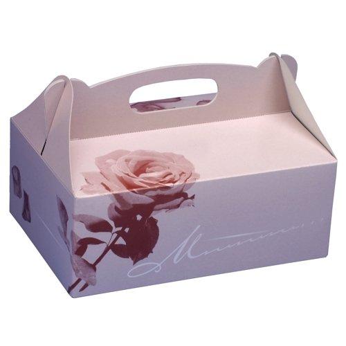 Neu!! 5 Gebäck-Kartons, Pappe eckig 26 cm x 22 cm x 9 cm rosé mit Tragegriff Geschenkkartons Kuchenkartons