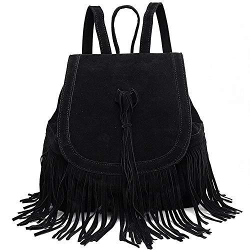 Women Bags Backpack Purse Casual Backpacks Shoulder Bags Rucksack Tassel for Ladies and Girls-Black