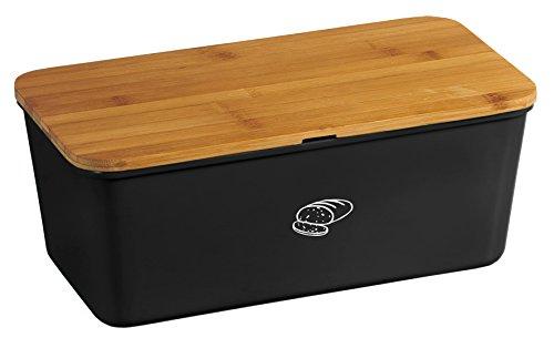Kesper 18091 Boîte à pain en bambou et mélamine Noir
