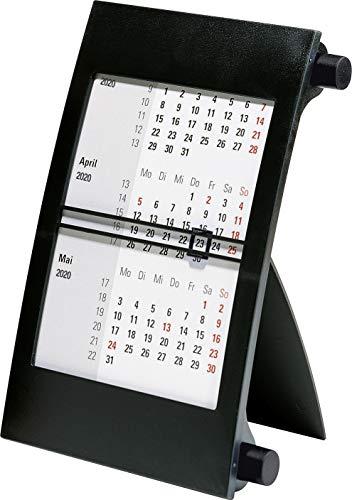 rido/idé 703800090 Drei-Monats-Tischkalender (1 Seite = 3 Monate, 110 x 183 mm, Kunststoff-Rahmen, mit Drehknöpfen, Kalendarium 2020 und 2020) schwarzen
