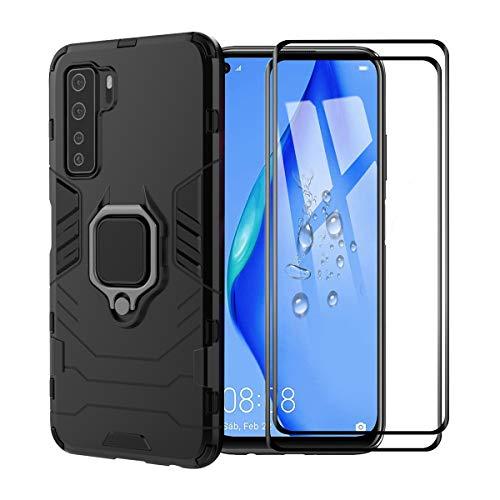 XIFAN Hülle für Huawei P40 lite 5G [Strapazierfähig] Ring Ständer, [Funktioniert Mit Magnetischer Autohalterung] Hülle Schutzhülle, Schwarz + 2 Pack Panzerglas