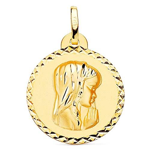 Medalla oro 18k Virgen Niña 20mm. relieve lisa redonda detalle cerco tallado - Personalizable - GRABACIÓN INCLUIDA EN EL PRECIO