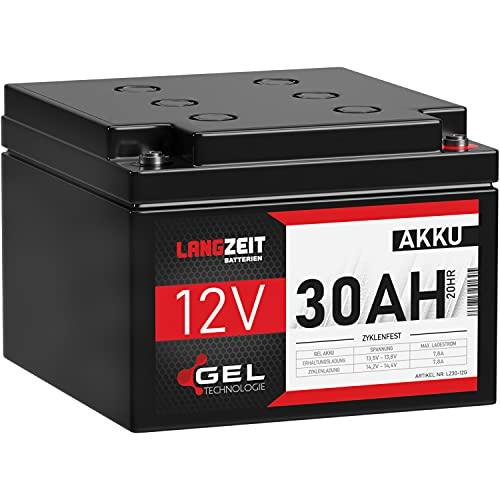 LANGZEIT Akku 12V 30Ah Gel Blei-Akku USV Batterie Rollstuhl Solar Wohnmobil auslaufsicher ersetzt LC-X12V33AP 26Ah 27Ah 28Ah 32Ah 33Ah
