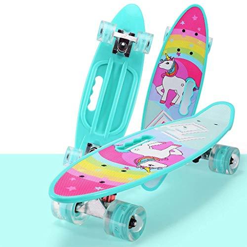 Tabla de skate retro Cruiser de 31 x 8 pulgadas de plástico viene completa con monopatines, cubierta resistente para principiantes, niños, niñas, adolescentes y adultos (color: D)
