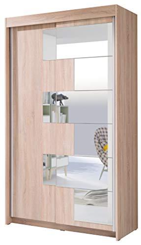 FurnitureByJDM - Moderne garderobekast 2 schuifdeuren - SZACH - met spiegel. Breedte: 120cm Hoogte: 216cm Diepte: 60cm - (Eiken Sonoma)