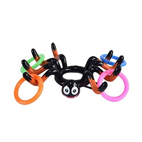 SMchwbc Araña de Halloween Inflable Toss Juguete araña Pies Objetivo del Juego con los Anillos 4pcs Lanzar Coloridas for Adultos de los niños