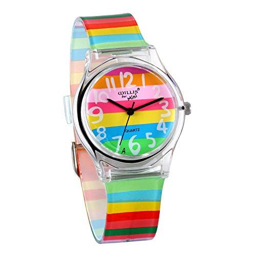 JewelryWe Reloj de Niños Niñas Reloj Analogico de Colores Arco Iris, Reloj...