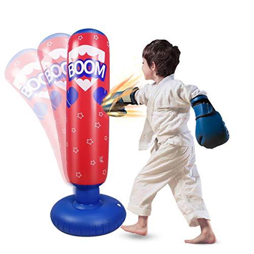 Boxsack Kinder Aufblasbarer Boxsack Kinder Freistehend Sofort Zurückspringen Boxsack für Fitness Üben Stressabbau Kickboxen Karate (125cm rot)