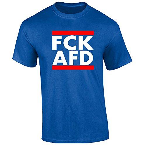 FCK AFD T-Shirt Schwarz Blau Gelb (XXL, Blau)
