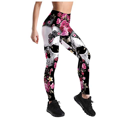 Fastbot women's Cropped Sports Yoga Pants Capri Skull Print High Waist Stretch Trouser for Workout Gym Running Sports Hot Pink