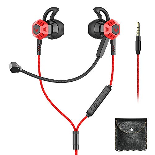 Gaming Earbud with Microphone Noise Isolating in-Ear E-Sport Wired Earbud Pure Sound and Powerful Bass, Earphones Headset with Mic and Volume Control Switch, PC, Mobile Phone with 3.5mm