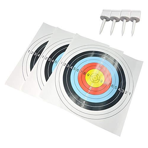 AMEYXGS 10 Piezas Tiro al Arco Objetivos Papel Los 60 * 60cm Papel Dianas con Clavo de Destino para La Práctica de Objetivos de Tiro