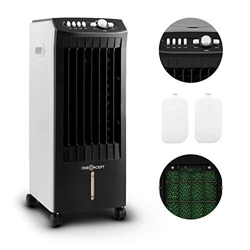 oneConcept MCH-1 V2 Klimagerät - Multi Edition, mobiler Luftkühler mit Ventilator, Luftbefeuchtungs- und Luftreinigungsfunktion, 400 m³/h Luftdurchsatz, 65 W, inkl. 2 x Kühlakku, schwarz-weiß