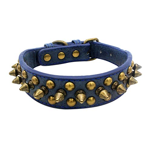 LOSVIP Haustier Halsband Klasse 2019,Halsbänder Katze Hundebeißkragen Einstellbare Nieten(Blau,M)
