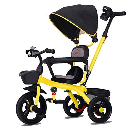 CAIMEI Dreirad Kids Trike, Pedalgeführtes 3-Rad-Kleinkind Mit Push Chair Stuhlgriff Abnehmbarer Baldachin Wendbarer Sitz 8 Monate - 6 Jahre Alt (Farbe: C),C.