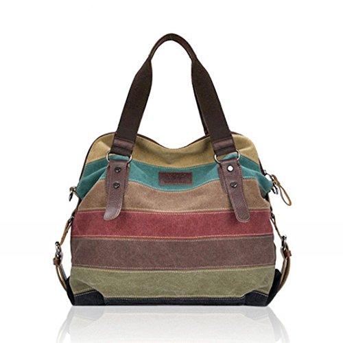 Lacaca donna in tela a strisce Handbag Queen-Borse tracolla, colori a contrasto