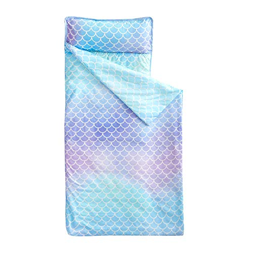 """Wake In Cloud - Nap Mat with Removable Pillow for Kids Toddler Boys Girls Daycare Preschool Kindergarten Sleeping Bag, Mermaids Scales in Gradient Pink Purple Blue, 100% Soft Microfiber (55""""x20"""")"""