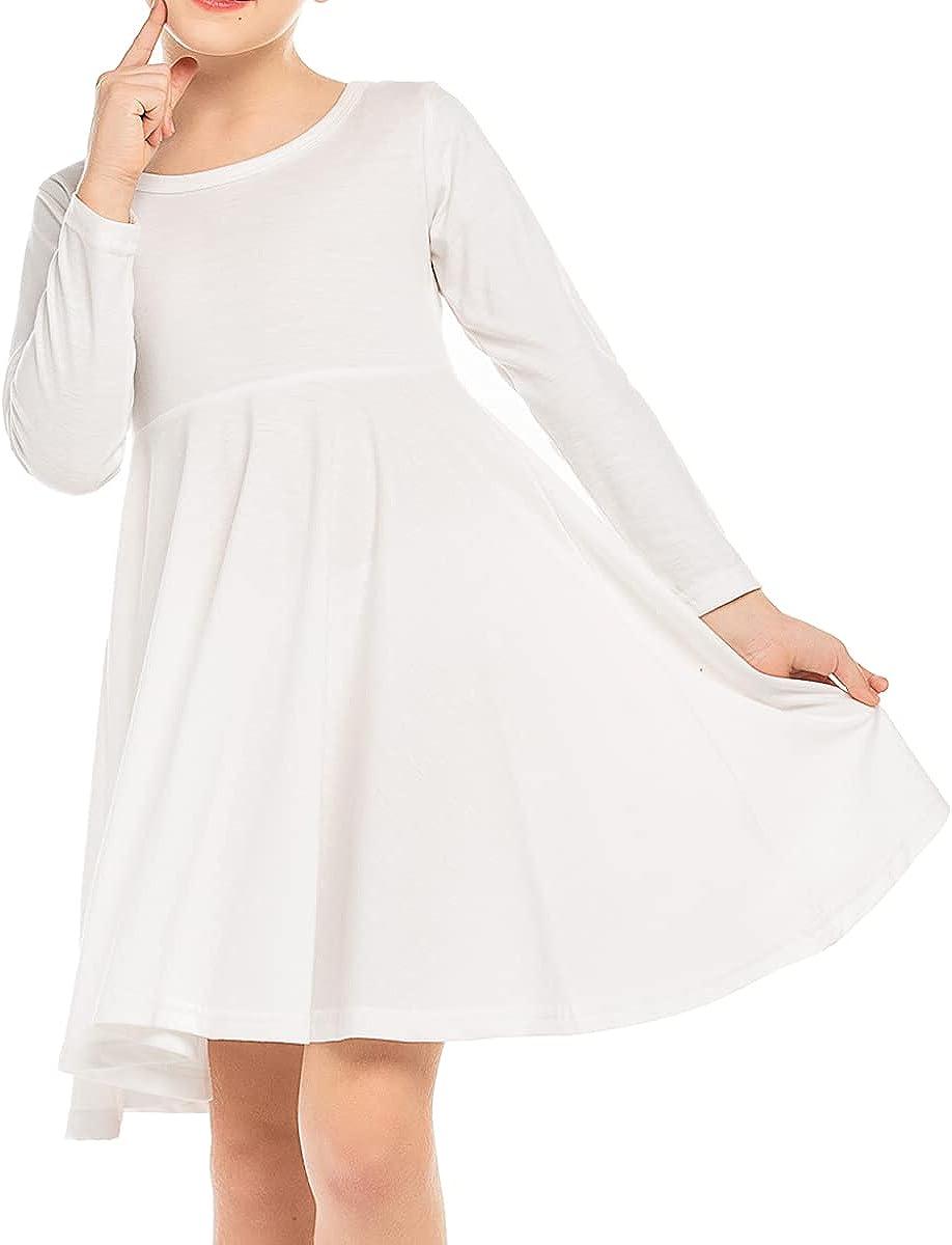 Boyoo Girls Cotton Dress Long Sleeve price Swing Skat Tw A Recommendation O-Neck Line