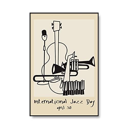 Cuadros Decoracion Salon,Black Cat Jazz Club Vintage Poster HD Print Nursery Wall Art Canvas Painting Cuadro Decorativo Retro Decoración del Hogar para Sala De Estar,para Dormitorio De Niños -50X70Cm