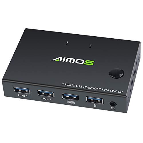 Tomlov KVM Switch HDMI 2 in 1 out 4K 30Hz USB Switch 4 Porte per PC, TV, Proiettore, Monitor, Stampante, Chiavetta USB, Mouse, Tastiera Cavi USB HUB