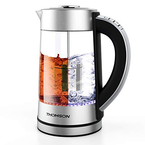 THOMSON Wasserkocher Glas mit Temperatureinstellung   Integriertes Teesieb   Herausnehmbarer Antikalk-Filter   Warmhaltefunktion   1,7 Liter