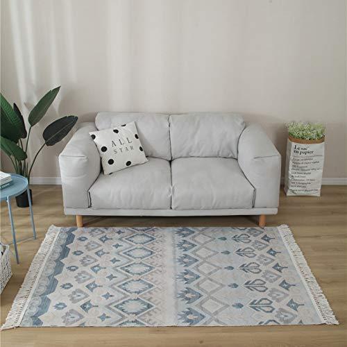 SONGHJ Handgewebte Teppichboden-Baumwollmatten, Maschinenwaschbare Möbelschutzdecken, Handgefertigte Quasten-Baumwollteppiche