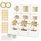 OurWarm 24 Pcs 6x6x3 Inches White Bakery Boxes with Window, Christmas Paperboard Cookie Boxes with 3 types shapes of Windows, Pastry Boxes set for Cupcakes, Coolies, Pastries, Strawberries, Dessert
