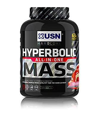 USN Hyperbolic Mass Strawberry 2 kg: All-In-One Mass Gainer Protein Powder, For Fast and Effective Weight Gain from USN