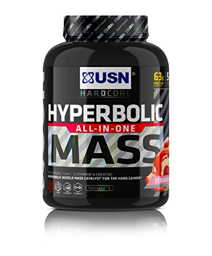 USN Hyperbolic Mass Strawberry 2 kg: All-In-One Mass Gainer Protein Powder, For Fast and Effective Weight Gain