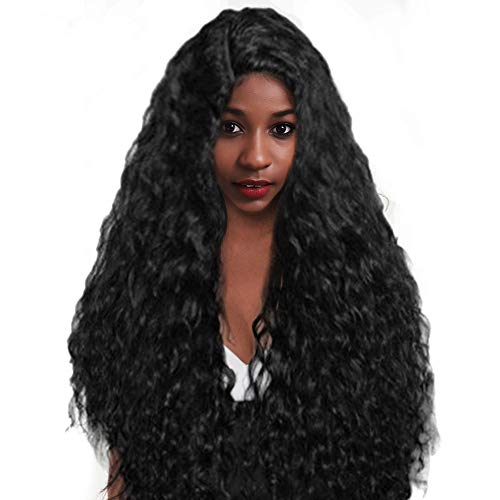 Perruques Afro Bresiliennes Femme Cheveux Humains Pour Black Long Curly Sexy Mode Pas Cher Postiches Wig Hair (Noir)