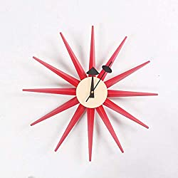 UHRKS Classic Sunburst Wall Clock Handmade Wooden Retro Antique Midcentury Multicolored Wall Clock,B,48cm