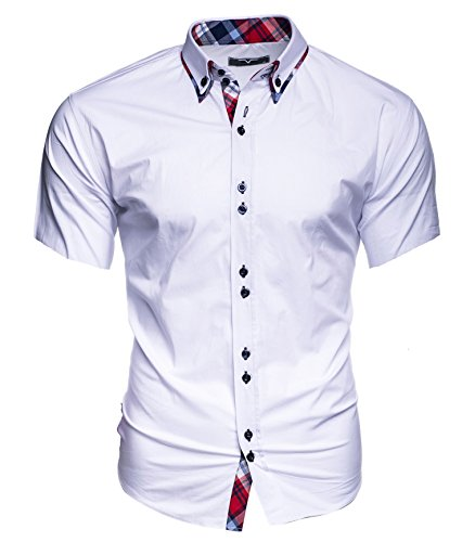 Kayhan Herren Kurzarm Hemd Hawaii Weiss (L)