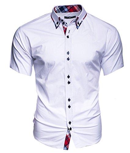 Kayhan Herren Kurzarm Hemd Hawaii Weiss (XL)