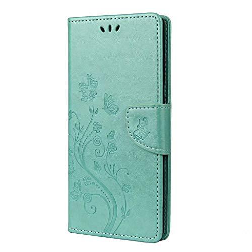 GOGME Hülle für LG K52, Premium PU Leder Wallet Flip Schutzhülle, [Schön Geprägt Blumen & Schmetterlinge] Stoßfeste Handyhülle mit Magnetverschluss/Ständer/Kartenfächer, Grün