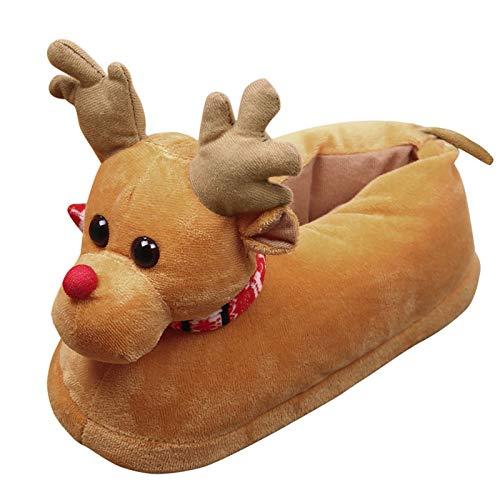 Odejoy Pattini Casuali del Cotone della Peluche Unisex Pattini di Inverno Caldi del Pattini di Natale Caldi di Inverno Scarpe Natale Costume Peluche Pantofole (m, Red)