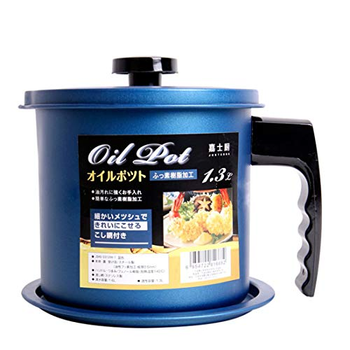 Cooking Oil Storage Grease Keeper, Grease Oil Strainer Container Pot with Filter for Deep Fryer (Blue-1.3L)