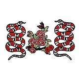 Patch di serpente Patch di rose Toppa ricamata a forma Patch per abbigliamento fai da te modello Zaini Applique,per la Riparazione o Il DIY di Magliette, Jeans, Vestiti, Borse e Altri Tessuti 3 Pezzi
