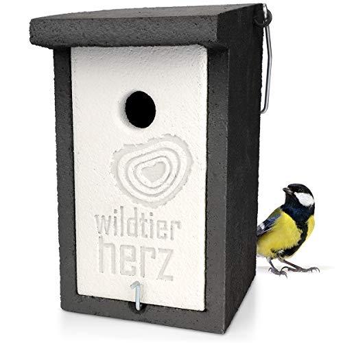wildtier herz | Holzbeton Nistkasten für Kohlmeisen & Co. – Wetterfeste Nisthöhle mit 32 mm Einflugloch, Vogelhaus & Brutkasten für Meisen