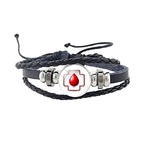 Médico estetoscopio foto pu cuero botón negro pulsera redonda cristal médico enfermera brazaletes joyería regalo
