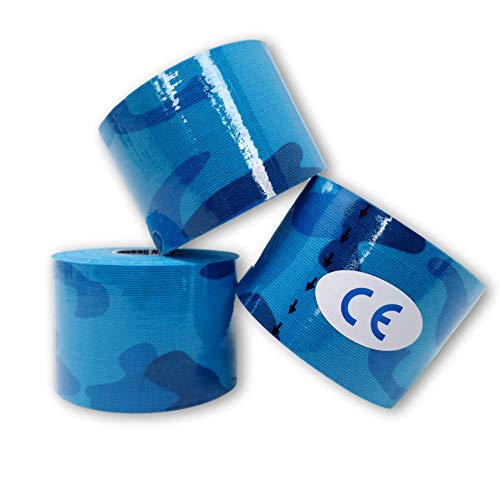 LisaCare Kinesiologie Tape - Sport Tape 3er-Set Camouflage Blau latexfrei 5cm x 5m Rolle