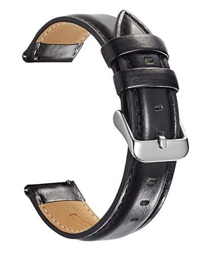 WATORY - Cinturino di ricambio per orologio Daniel Wellington da 36 mm, in vera pelle, 18 mm, per Withings Activite/Pop/Steel HR 36 mm, Fossil Gen 4 Q Venture HR, nero