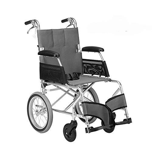N/Z Home Equipment Rollstuhl Klappbarer Leichter Rollstuhl Ultraleichtes kleines Rad Old Man Trolley Aviation Titan Aluminium Rollstuhl A-Schwarz