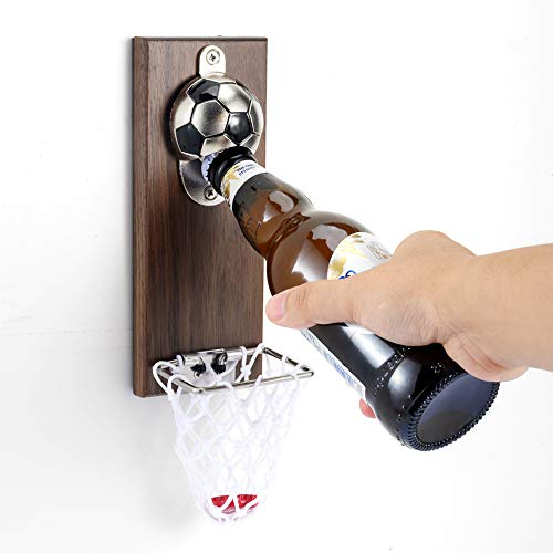 Soccer Bottle Opener with Cap Collector Catcher,Magnetic Refrigerator Paste Bottle Opener,Ideal Gift for Soccer Fans and Beer Lovers, Use as Bar Decoration.…