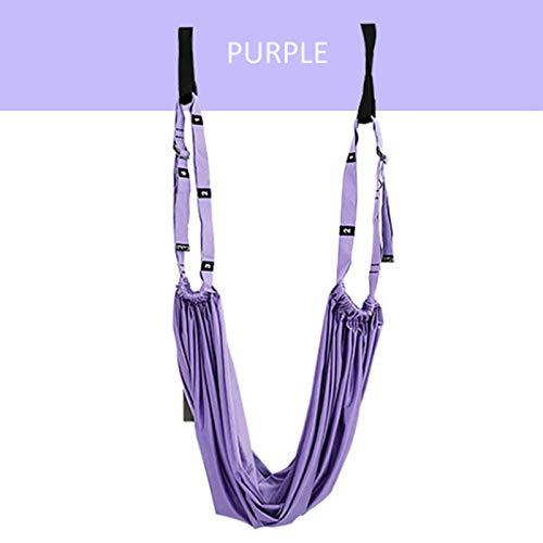 LIUZKH Yoga Correa Hamaca Ajustable Swing Stretch Anti-Gravity Inversión Ejercicios Multilayer Cinturón Entrenamiento Yoga Accesorios (púrpura)