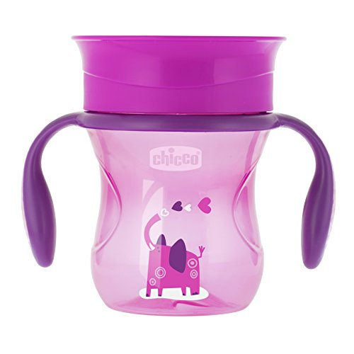 Chicco Perfect 360 - Vaso con membrana de silicona anti goteó, color rosa