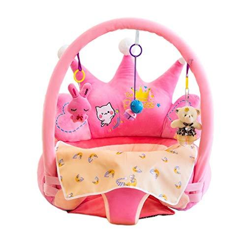 Olddreaming-- Asiento de aprendizaje para bebé, silla de apoyo, relleno de algodón de polipropileno, elástico suave y anticaída, diseño de dibujos animados (rosa)